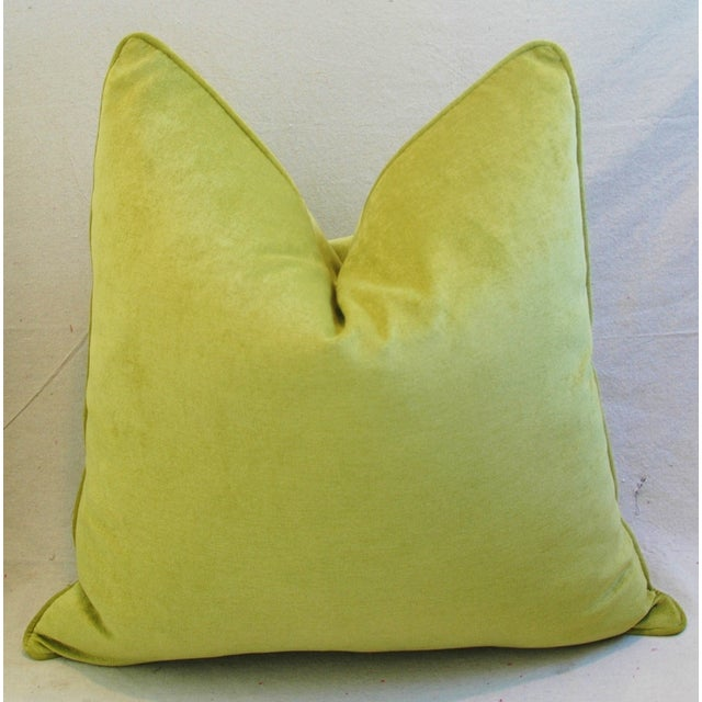 "24"" Custom Tailored Apple Green Velvet Feather/Down Pillows - Pair - Image 10 of 12"