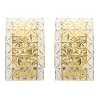 Faceted Crystal Sconces by Kinkeldey - a Pair For Sale