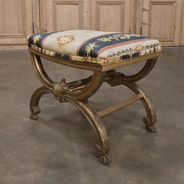 Early 19th Century 19th Century Giltwood Vanity Stool For Sale - Image 5 of 11