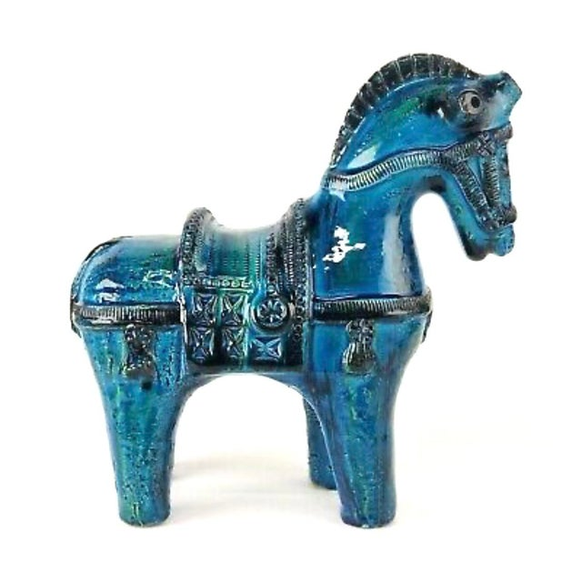 Bitossi Italian Mid-Century Bitossi Rimini Blue Horse Pottery Sculpture by Aldo Londi For Sale - Image 4 of 13