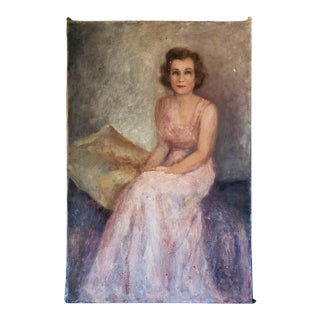 Vintage Elegant Woman Portrait Painting on Canvas For Sale
