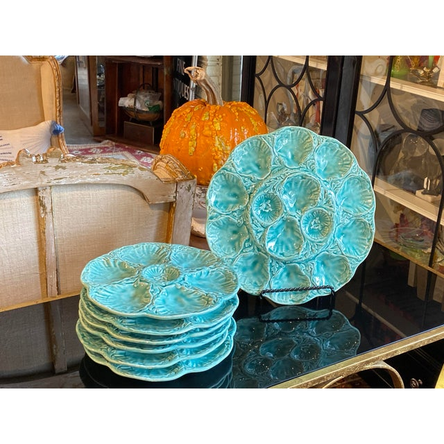 Turquoise 1960s French Turquoise Oyster Plate For Sale - Image 8 of 10