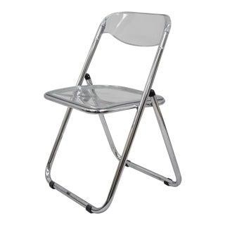 Late 20th Century Italian Chrome & Lucite Folding Chair For Sale