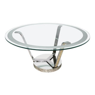 Art Deco Revival Round Dining or Center Table, Chrome & Brass, by Karl Springer For Sale