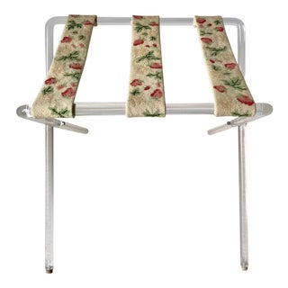 Mid Century Lucite and Needlepoint Folding Luggage Valet Stand Rack For Sale