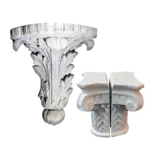 White Empire Style Plaster Ionic Order Capitale Corbel Wall Shelves - Set of 3 For Sale