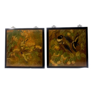 Chinoiserie Bird Plaques - a Pair For Sale