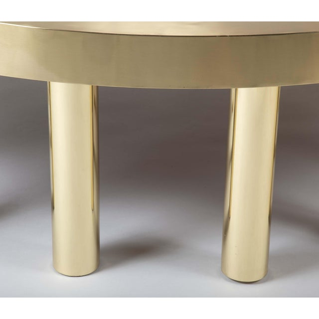 Metal Large Agate Inlaid Sapelle and Brass Coffee Table For Sale - Image 7 of 12