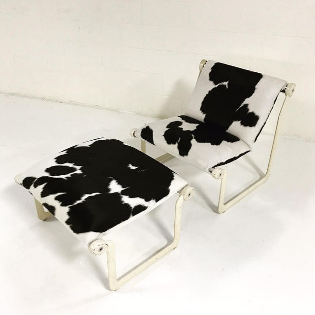 Mid-Century Modern Forsyth One of a Kind Morrison & Hannah for Knoll Chair & Ottoman Restored in Black & White Brazilian Cowhide For Sale - Image 3 of 11