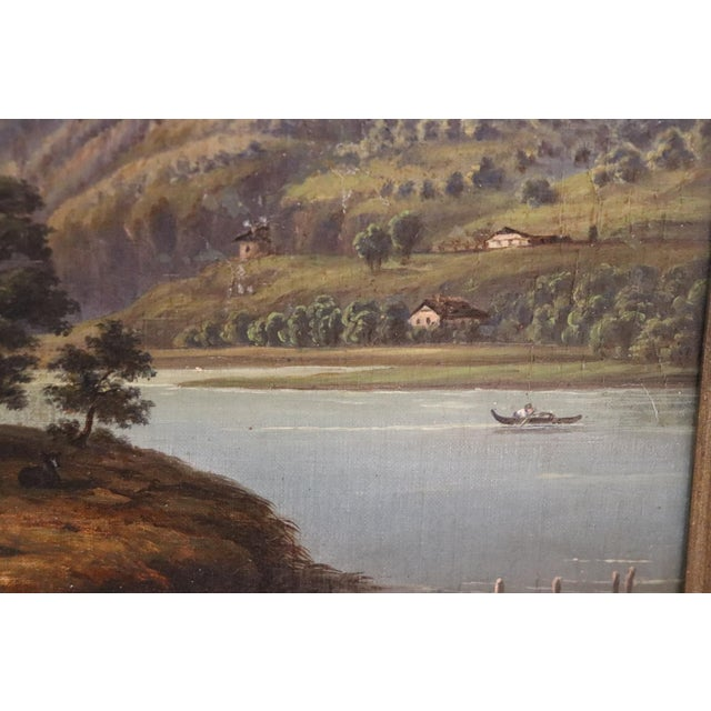 19th Century Oil Painting on Canvas Mountain Landscape For Sale - Image 6 of 12