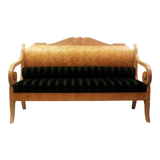 Early 19th Century Russian Biedermeier Sofa in Birchwood For Sale