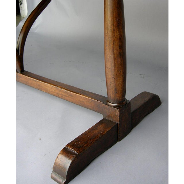 1920s Custom Walnut Wood Oval Table With Wishbone Stretcher For Sale - Image 5 of 6