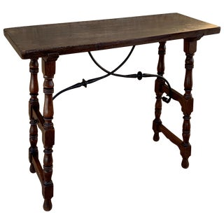 Spanish Console Table With Iron Stretcher and Shaped Legs, Side Table, Baroque For Sale