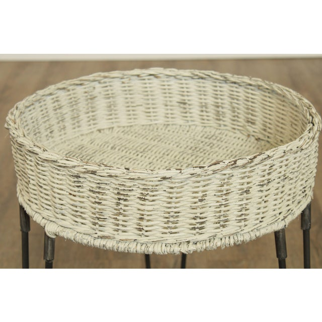 Wicker Round Wicker Planter Table With Hairpin Legs For Sale - Image 7 of 12