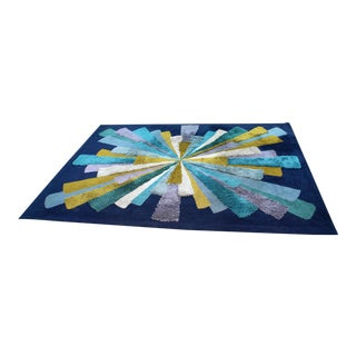 Mid Century Modern Large Blue Hi Pile Low Pile Rectangular Starburst Rug Carpet