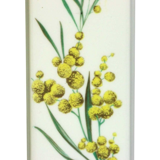 Traditional Pair of Limoges 7.75 In. White Ceramic Floral Door Push Plates For Sale - Image 3 of 6