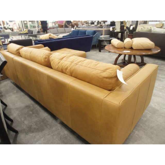 Tan Leather Sectional Sofa, Right Chaise, Tufted Seating For Sale - Image 5 of 8