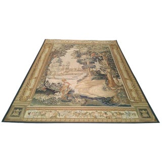 Silk & Wool Handmade Aubusson Tapestry - 6x8 - Size Cat. 6x9 For Sale
