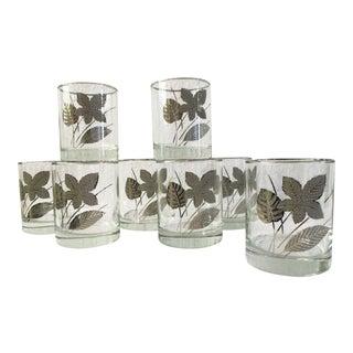 1960s Mid-Century Modern Silver Leaf Rocks Glasses - Set of 8 For Sale