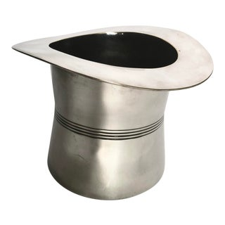 Vintage Silver Plate Top Hat Ice Bucket For Sale