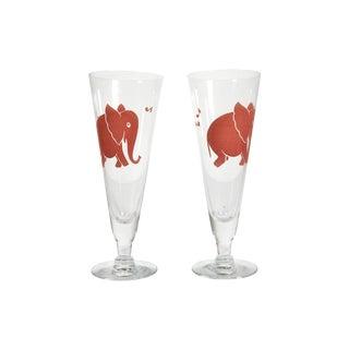 Pink Elephant Pilsner Glasses - A Pair