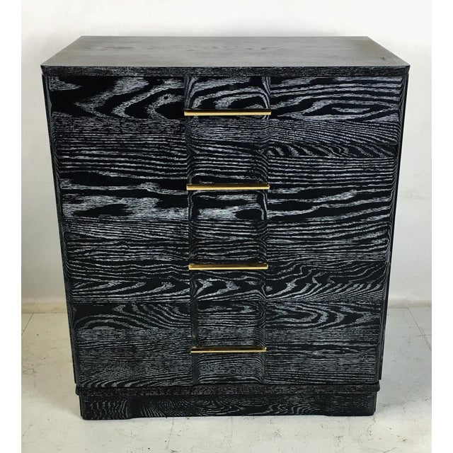 Mid-Century Modern Pair of Ebonized Cerused Oak Bachelors Chests With Brass Hardware For Sale - Image 3 of 7
