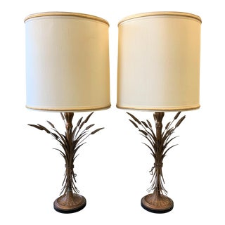 Mid-Century Modern Sheaf of Wheat Table Lamps by Frederick Cooper- a Pair For Sale