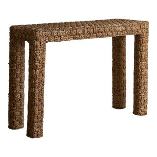 Vintage Mediterranean Woven Rope Console Table For Sale