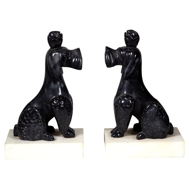 Early 20th C. Alabaster Poodle Bookends - Pair - Image 1 of 5