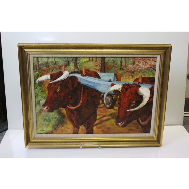 Ede-Else Oxen Oil Painting on Canvas For Sale - Image 4 of 7