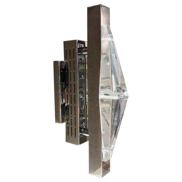Limited edition Italian wall light or flush mount with clear faceted crystal on chrome finish / Designed by Fabio Bergomi...