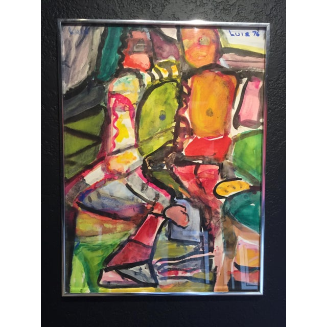 """Luis Ramirez Untitled 1976 Gouache on Paper 18 1/4"""" x 24 1/4"""" Signed and dated top right in paint"""