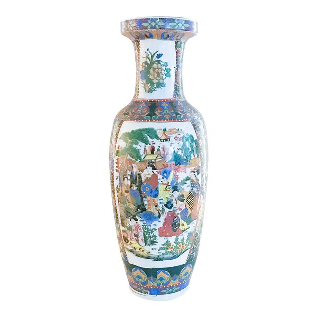 Old Chinese Famille Rose Floor Vase Chairish