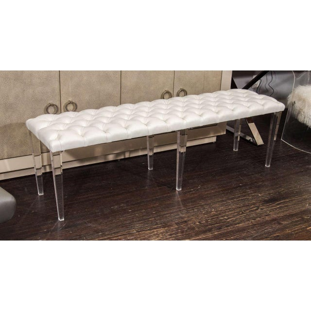 Custom Tufted Leather with Lucite Leg Bench For Sale In New York - Image 6 of 6
