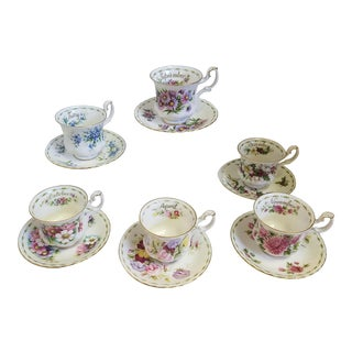 Vintage Royal Albert Flowers of the Month Teacup/Saucer - Set of 12 For Sale