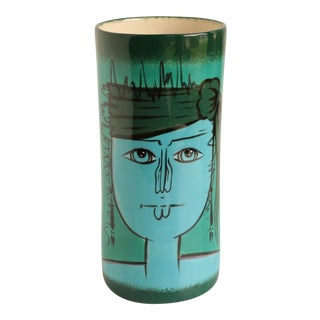 Blue Lady Ceramic Cylinder Vase For Sale