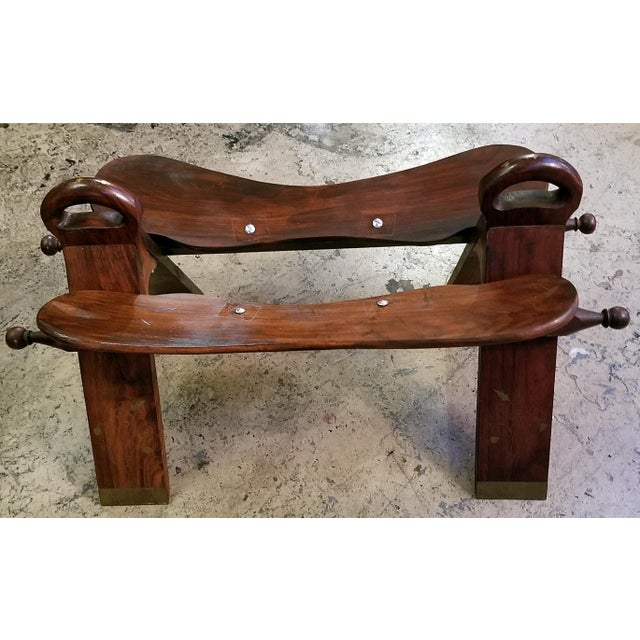 Syrian Brass Inlaid Camel Saddle For Sale - Image 4 of 8