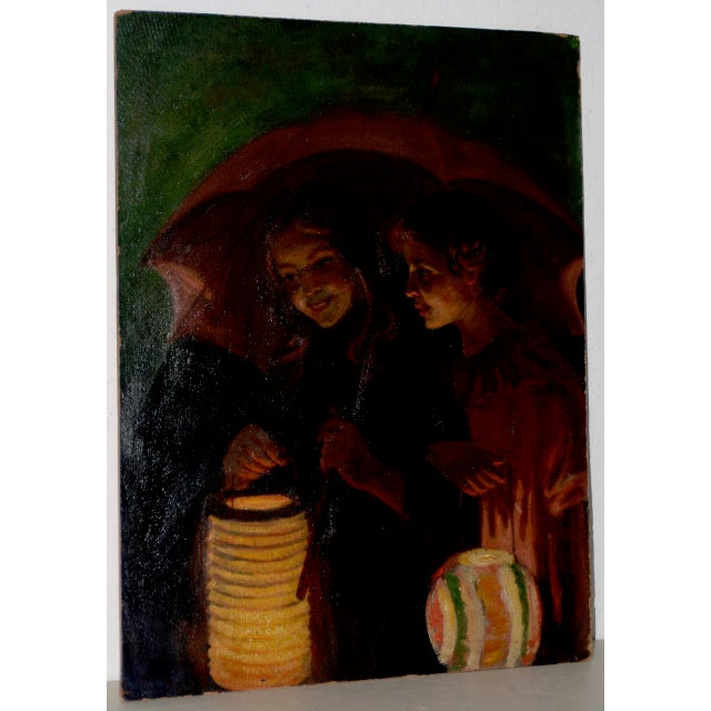 Red Jacob Weinles Original Oil Painting C.1920 For Sale - Image 8 of 8