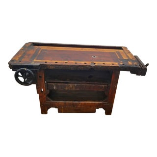 Late 19th Century Antique Reclaimed Wood Workers Bench For Sale