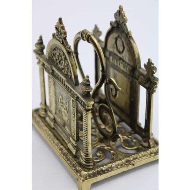 Renaissance Revival Double Brass Letter Rack With Carrying Handle For Sale - Image 4 of 12