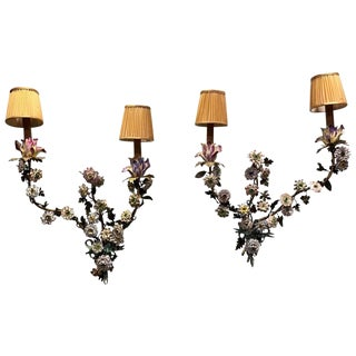 19th Century Italian Tole' Rococo Porcelain Flowered Sconces - a Pair For Sale