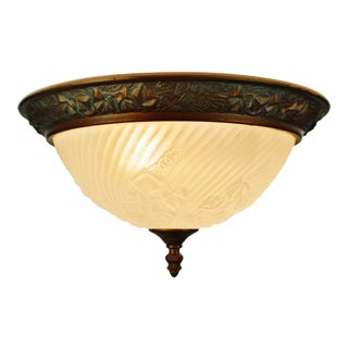 Vintage Molded Frosted Glass With Ivy Relief Design Flush Mount Ceiling Fixture For Sale