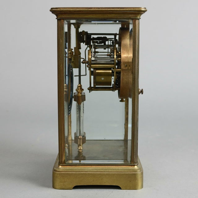 Antique Tiffany & Co. Crystal and Brass Regulator Mantel Clock, circa 1890 For Sale - Image 6 of 9
