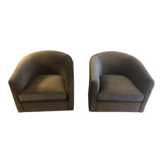 Modern Contemporary Club Swivel Chairs - a Pair For Sale