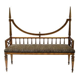 Hollywood Regency Gold Gilt Wood Spire Settee For Sale