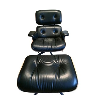 Eames Leather and Rosewood Lounge Chair & Ottoman For Sale