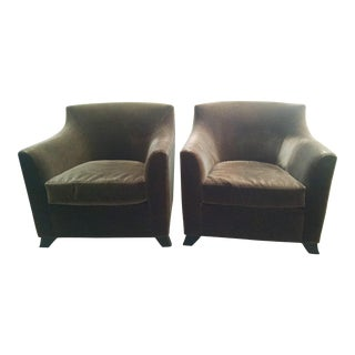 Contemporary Mohair Club Chairs - A Pair