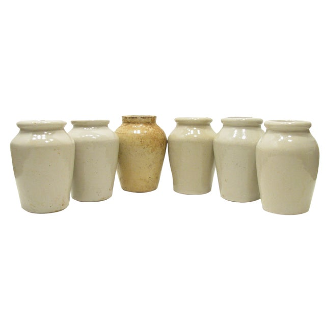 Antique English Olive Jars C.1880, S/6 For Sale