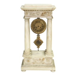 19th c. French Empire Marble Clock