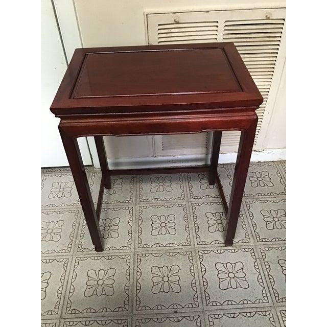 Brown 1900s Chinese Mahogany Handmade Side Table For Sale - Image 8 of 12